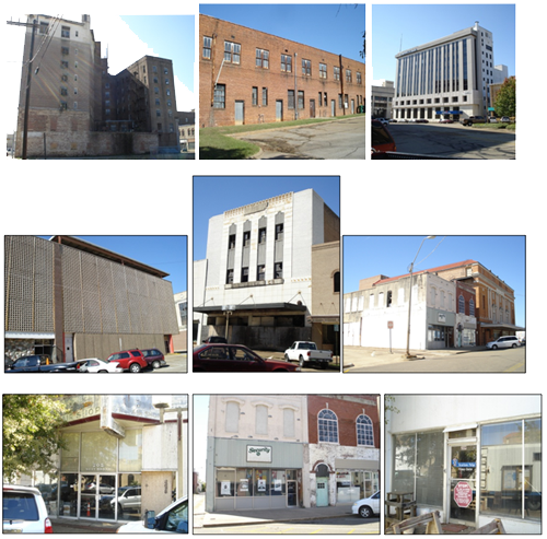 Nine different structures part of the Brownfields