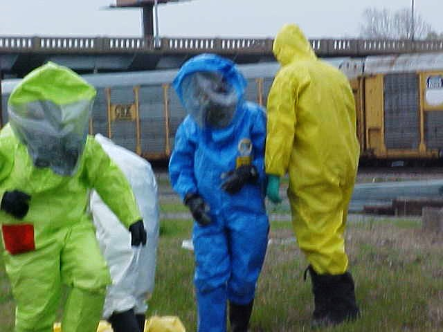 Four fire fighters wearing HazMat suits during the training exercise.